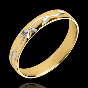 Obrączka Świeżość - Grawerowany bluszcz - złoto białe i złoto żółte 18-karatowe