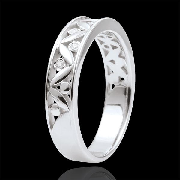 Obrączka Świeżość - Starożytny Rzym - złoto białe 9-karatowe – 7 diamentów