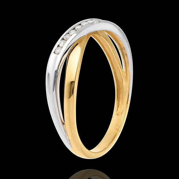 Obrączka Tandem wysadzana diamentami - 9 diamentów - złoto białe i złoto żółte 18-karatowe