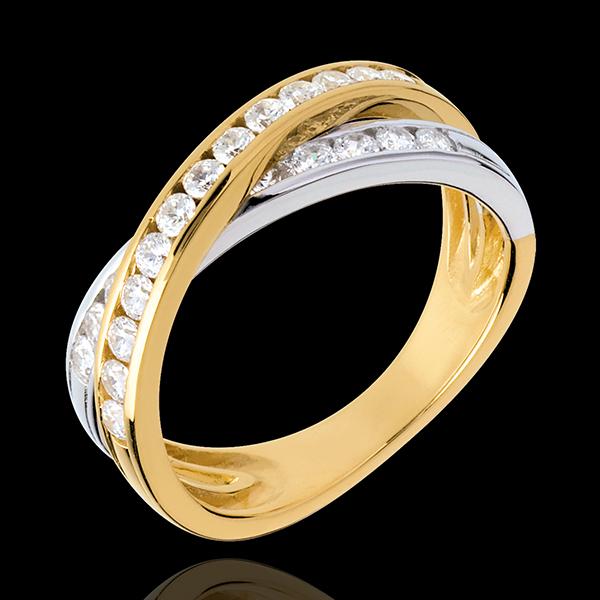 Obrączka Tandem wysadzana diamentami (bardzo duży model) - 0,6 karata - 23 diamenty - złoto białe i złoto żółte 18-karatowe