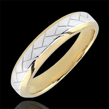 Obrączka Tkacz z białego i żółtego złota 9-karatowego