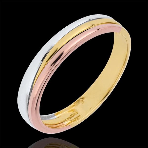Obrączka Triya z trzech rodzajów złota - trzy rodzaje złota 18-karatowego