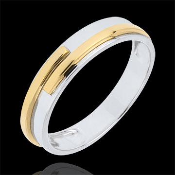 Obrączka Tytan z dwóch rodzajów złota - złoto białe i złoto żółte 18-karatowe