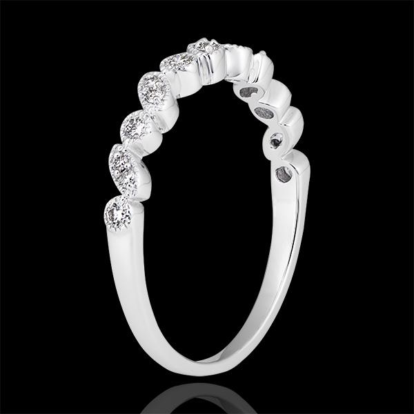 Obrączka Uciekające Spojrzenie - białe złoto 18-karatowe wysadzane diamentami