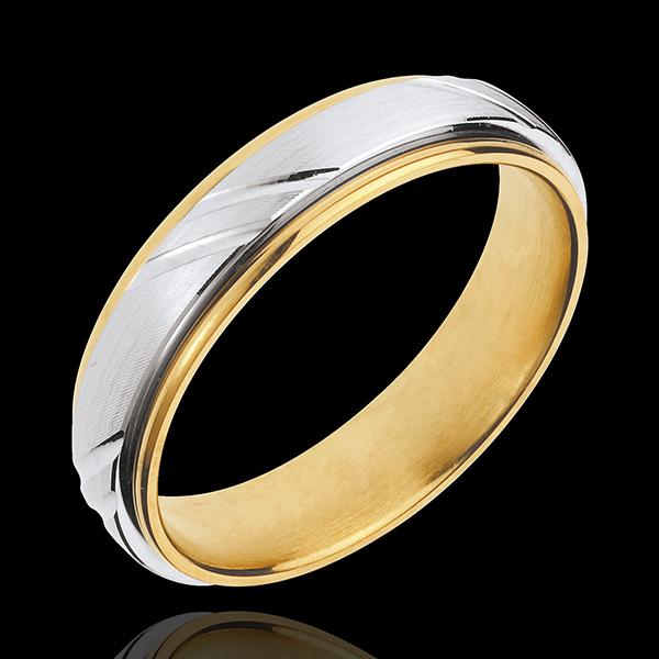 Obrączka Wiking - złoto białe i złoto żółte 18-karatowe