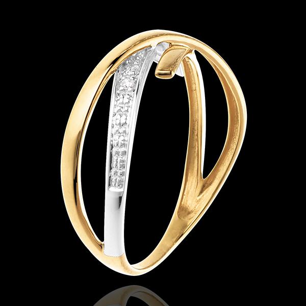 Obrączka Woltyżerka wysadzana diamentami - 3 diamenty - złoto białe i złoto żółte 18-karatowe