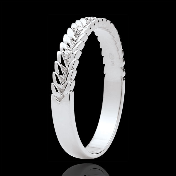 Obrączka Zaczarowany Ogród - Splot z diamentem - złoto białe 18-karatowe