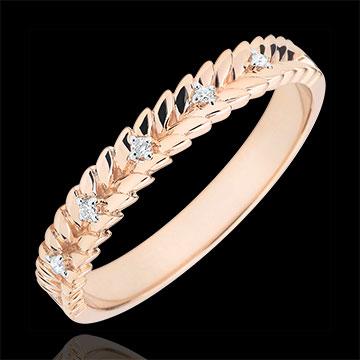 Obrączka Zaczarowany Ogród - Splot z diamentem - złoto różowe 9-karatowe
