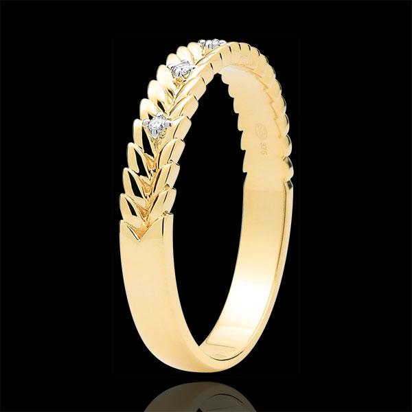 Obrączka Zaczarowany Ogród - Splot z diamentem - złoto żółte 9-karatowe