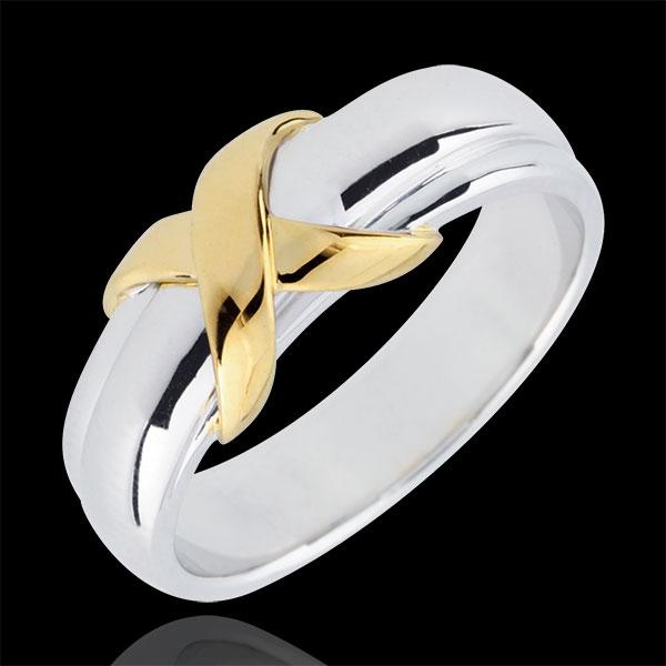 Obrączka Znak z białego i żółtego złota 18-karatowego