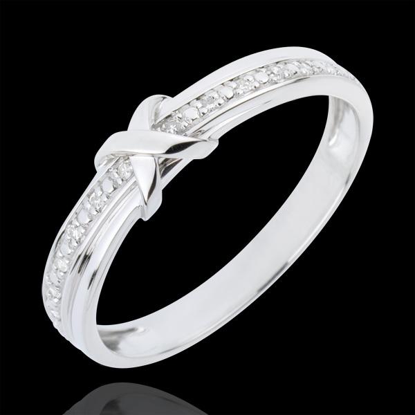 Obrączka Znak Miłości - złoto białe 18-karatowe i diament