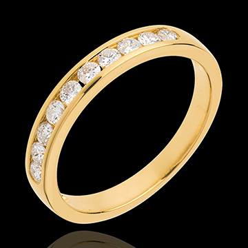 Obrączka z żółtego złota 18-karatowego w połowie wysadzana diamentami - oprawa kanałowa - 0,3 karata - 10 diamentów