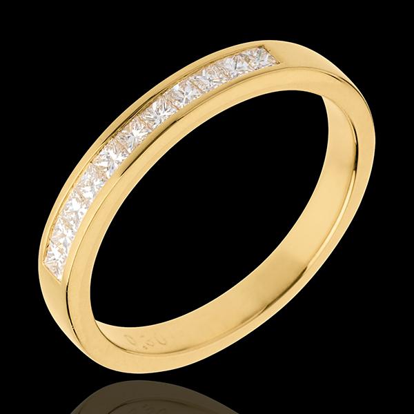Obrączka z żółtego złota 18-karatowego w połowie wysadzana diamentami - oprawa kanałowa - 0,31 karata - 11 diamentów