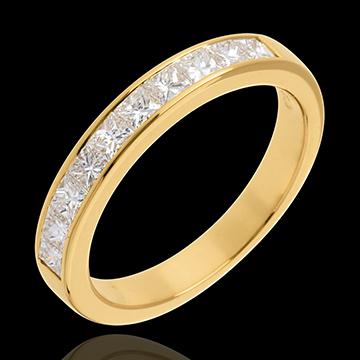 Obrączka z żółtego złota 18-karatowego w połowie wysadzana diamentami - oprawa kanałowa - 0,7 karata - 10 diamentów