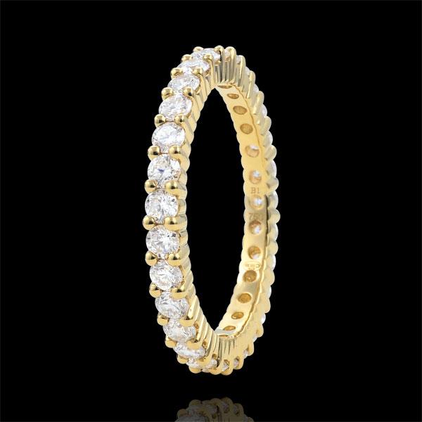Obrączka z żółtego złota 18-karatowego wysadzana diamentami - krapy - 1,11 karata - Pełny obwód