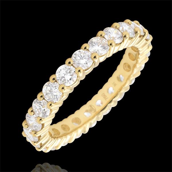 Obrączka z żółtego złota 18-karatowego wysadzana diamentami - krapy - 2 karaty - Pełny obwód