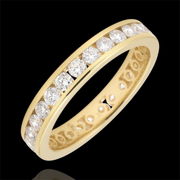 Obrączka z żółtego złota 18-karatowego wysadzana diamentami - oprawa kanałowa - 1,07 karata - Pełny obwód