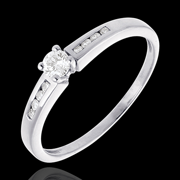 Octave Solitaire ring white gold - 0.27 carat - 9diamonds