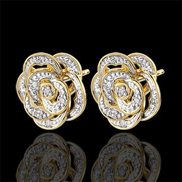 Ohrringe Blüte - Bestickte Rose - Weißgold, Gelbgold und Diamanten