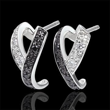 Ohrringe Dämmerschein - Kinese - Weißgold, Weiße und schwarze Diamanten