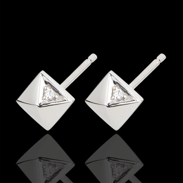 Ohrringe Schöpfung - Rohdiamanten - Weißgold - 18 Karat