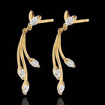 Ohrringe Überfluss - Gelbgold und Weißgold mit Diamanten