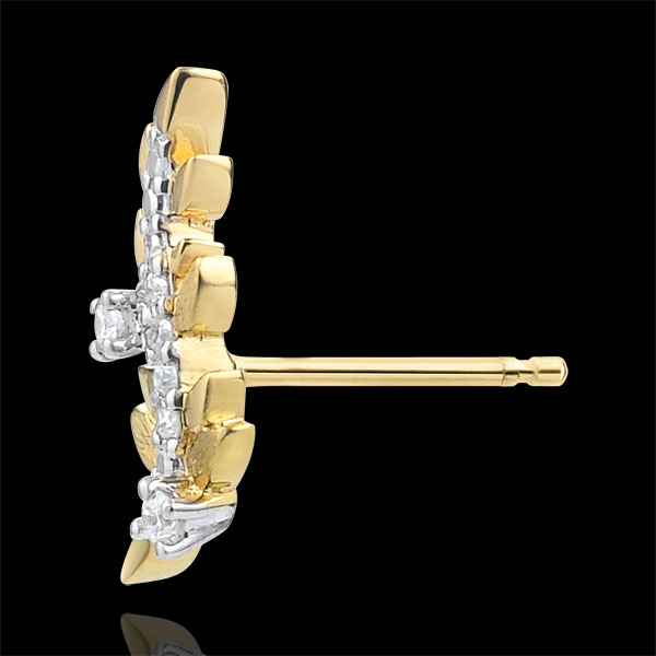 Ohrringe Verzauberter Garten - Königliches Blattwerk - Gelbgold und Diamanten - 9 Karat