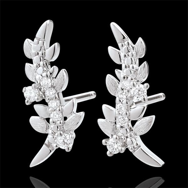 Ohrringe Verzauberter Garten - Königliches Blattwerk - Weißgold und Diamanten - 9 Karat