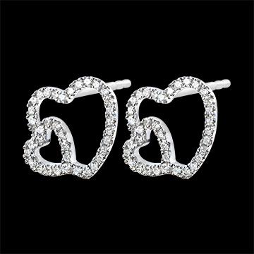 Ohrringe Vielfalt - Doppeltes Herz - 9 Karat Weißgold und Diamanten
