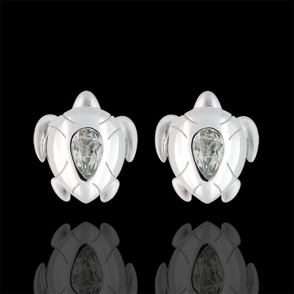 Ohrstecker Spaziergang der Sinne - Meeresschildkröte - Silber und Halbedelsteine