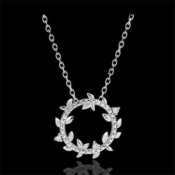 Okrągły naszyjnik Zaczarowany Ogród - Królewskie Liście - złoto białe 9-karatowe i diamenty
