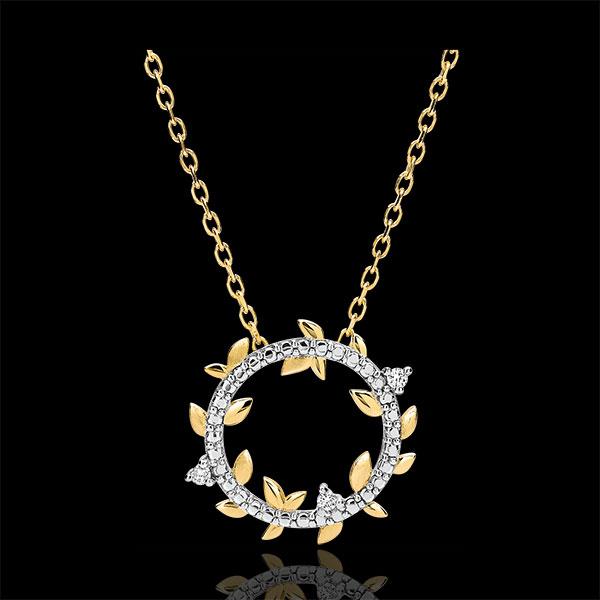 Okrągły naszyjnik Zaczarowany Ogród - Królewskie Liście - złoto żółte 18-karatowe i diamenty