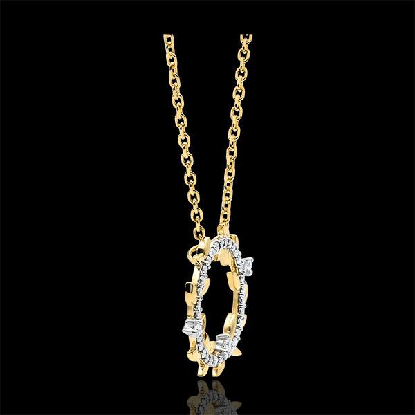 Okrągły naszyjnik Zaczarowany Ogród - Królewskie Liście - złoto żółte 9-karatowe i diamenty