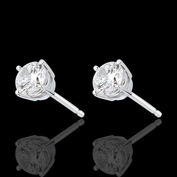 Oorbellen 18 karaat witgoud - 4 Diamanten pootjes - 1 karaat