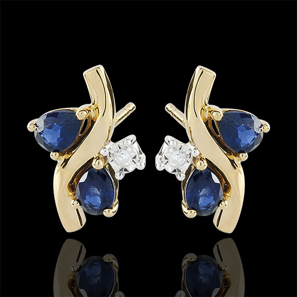 Oorbellen Alegria - Saffier en Diamant - 9 karaat geelgoud