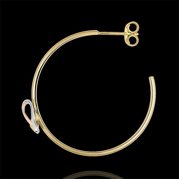 Oorbellen Creolen Gevouwen hart - 3 soorten goud 18 karaat