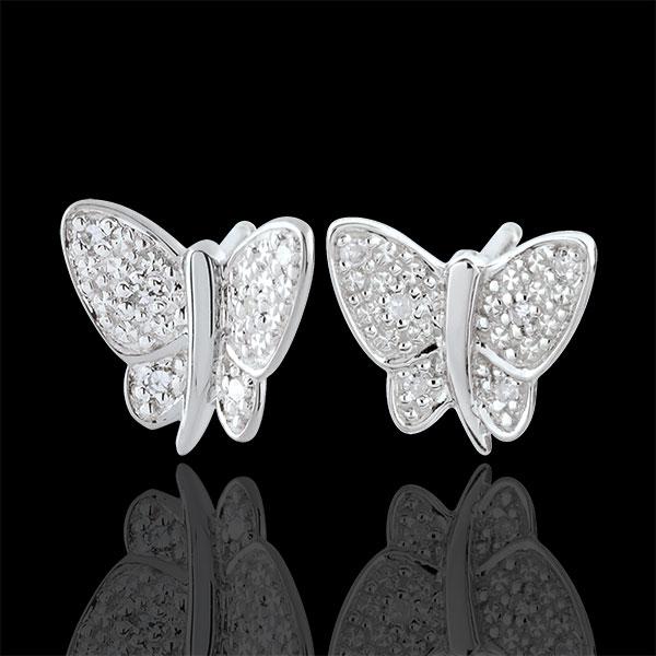 Oorbellen Dagdromen - Muzikale Vlinder - 9 karaat witgoud