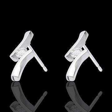 Oorbellen Nid Précieux - Diamantapostroph– Wit Goud - 18 karaat