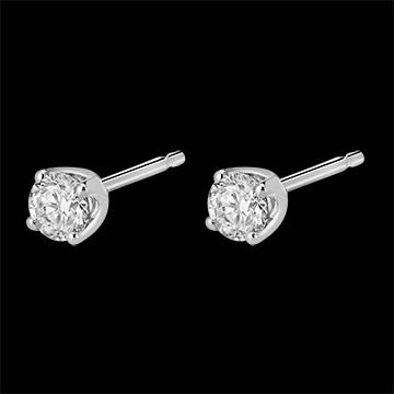 Oorbellen Diamant witgoud stud - 0.4 karaat - 18 karaat goud
