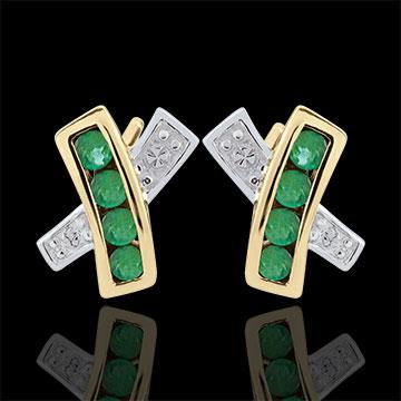 Oorbellen Donia - Smaragd - 9 karaat geelgoud