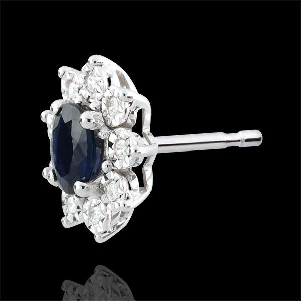 Oorbellen Eeuwige Edelweiss - Marguerite Illusie - Saffier en Diamanten - 9 karaat witgoud