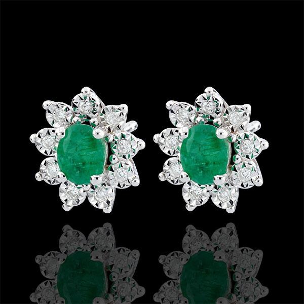 Oorbellen Eeuwige Edelweiss - Marguerite Illusie - smaragd en Diamanten - 9 karaat witgoud