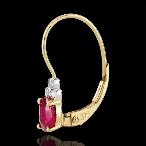 Oorbellen Exquise - robijn en Diamanten - 9 karaat geelgoud