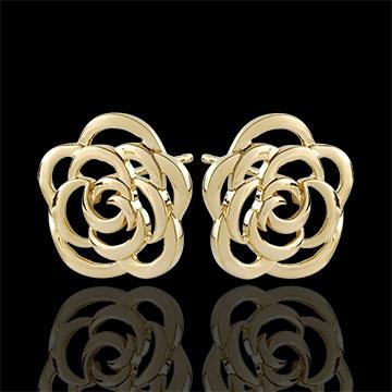 Oorbellen genaaide bloem - 9 karaat geelgoud