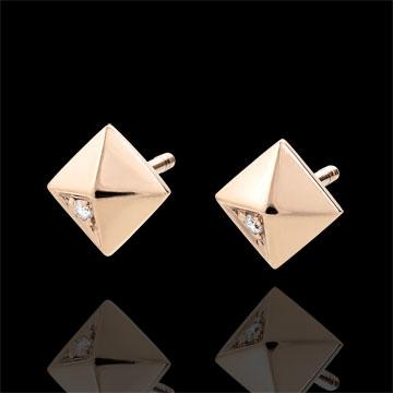 Oorbellen Genesis - Ruwe Diamanten - 18 karaat rozégoud
