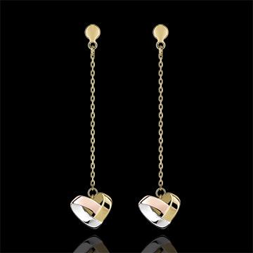 Oorbellen Hangend Gevouwen hart - 3 soorten goud 18 karaat