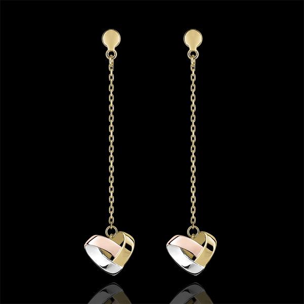 Oorbellen Hangend Gevouwen hart - 3 soorten goud 9 karaat