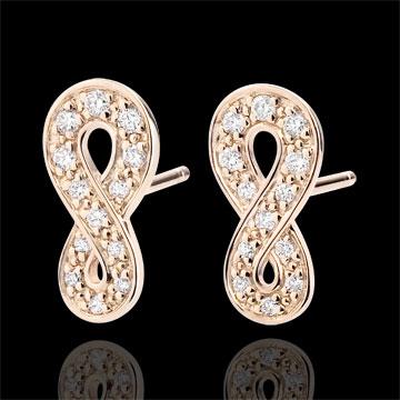Oorbellen Infinity - 9 karaat rozégoud met Diamanten
