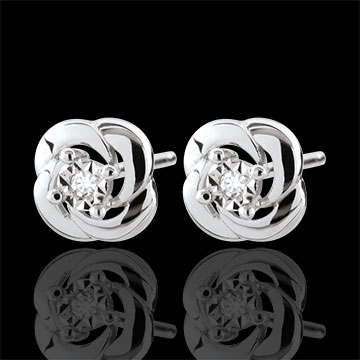 Oorbellen Lentekriebels - Camellia - 9 karaat witgoud