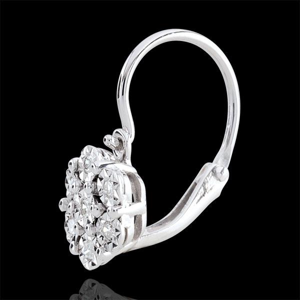 Oorbellen Lentekriebels - Sneeuwvlok - 14 Diamanten en 9 karaat witgoud